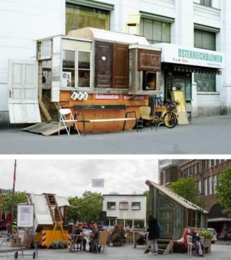 Mô hình quán cà phê nhỏ được tạo ra từ những vật dụng bỏ đi